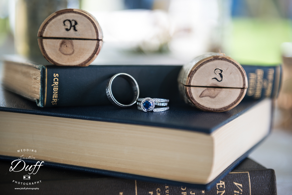 Stoney Creek Metropark – A Vintage Wedding - wedding rings on books custom boxes