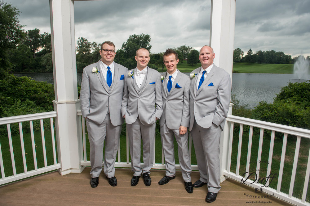 Fountains Golf Course Wedding - Royal Oak Photographer – Deanna & Shane Groom and groomsmen in a gazebo