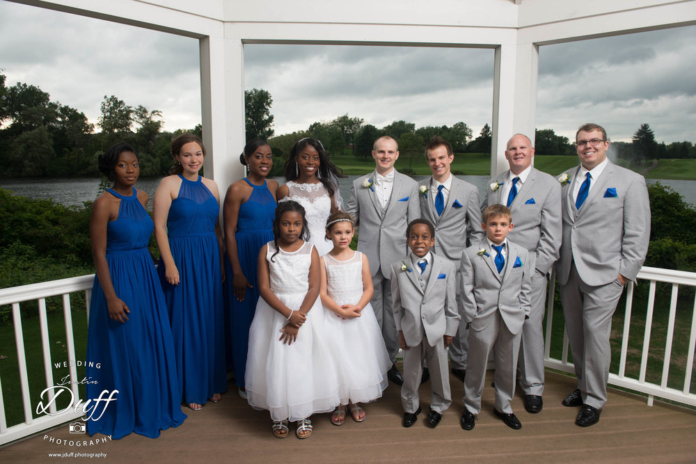 Fountains Golf Course Wedding - Royal Oak Photographer – Deanna & Shane wedding party in the gazebo overlooking a pond