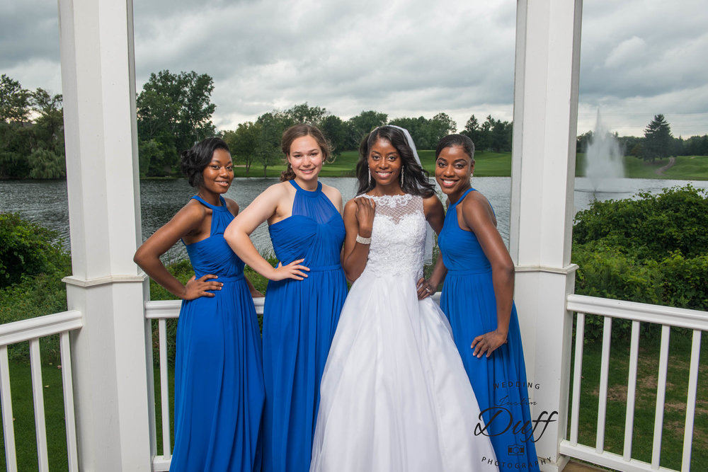 Fountains Golf Course Wedding - Royal Oak Photographer – Deanna & Shane bride and bridesmaids in the gazebo