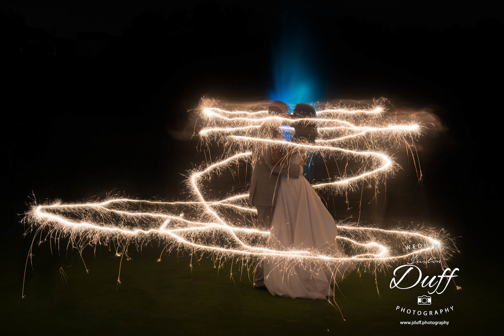 Fountains Golf Course Wedding - Royal Oak Photographer – Deanna & Shane Cinderella sparklers in front of a lit fountain