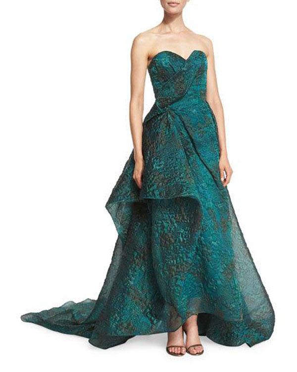 Rubin Singer Asymmetric-Ruffle Strapless Gown