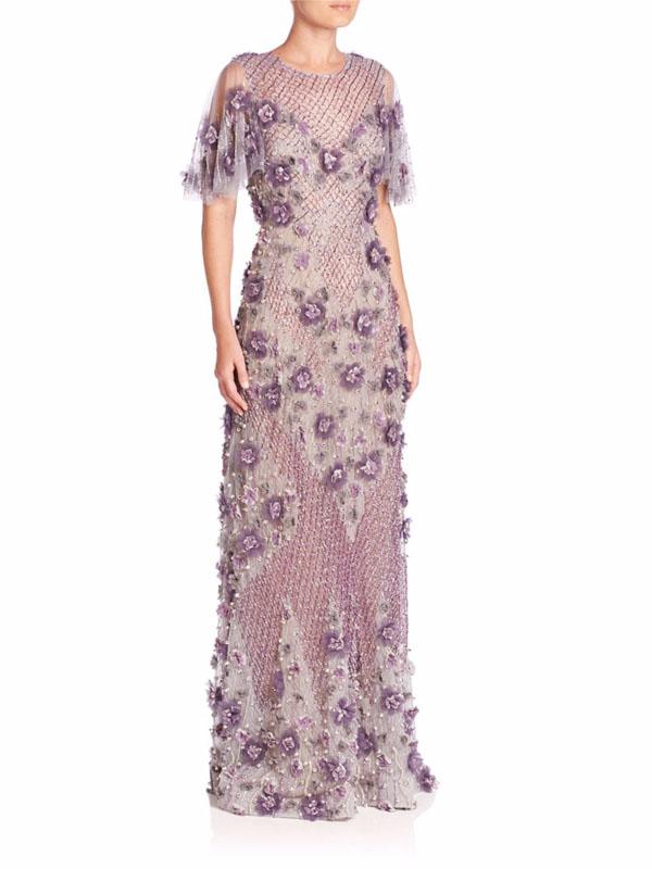 Marchesa Embellished Drop Waist Ball Gown