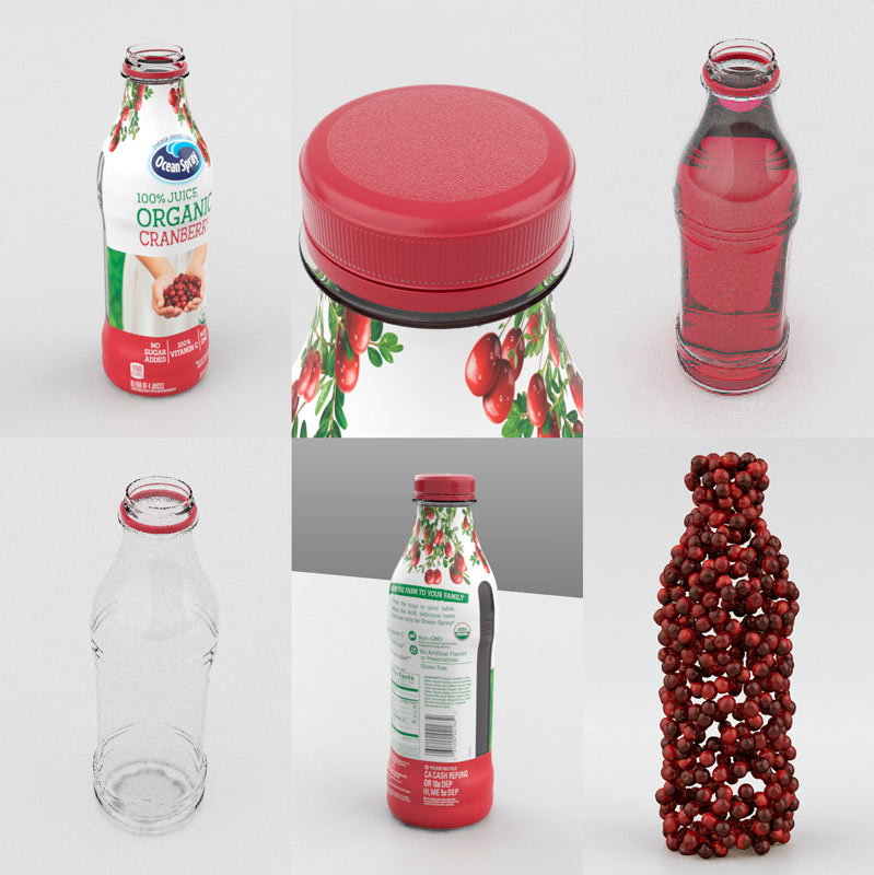 3D models of juice bottle and berries