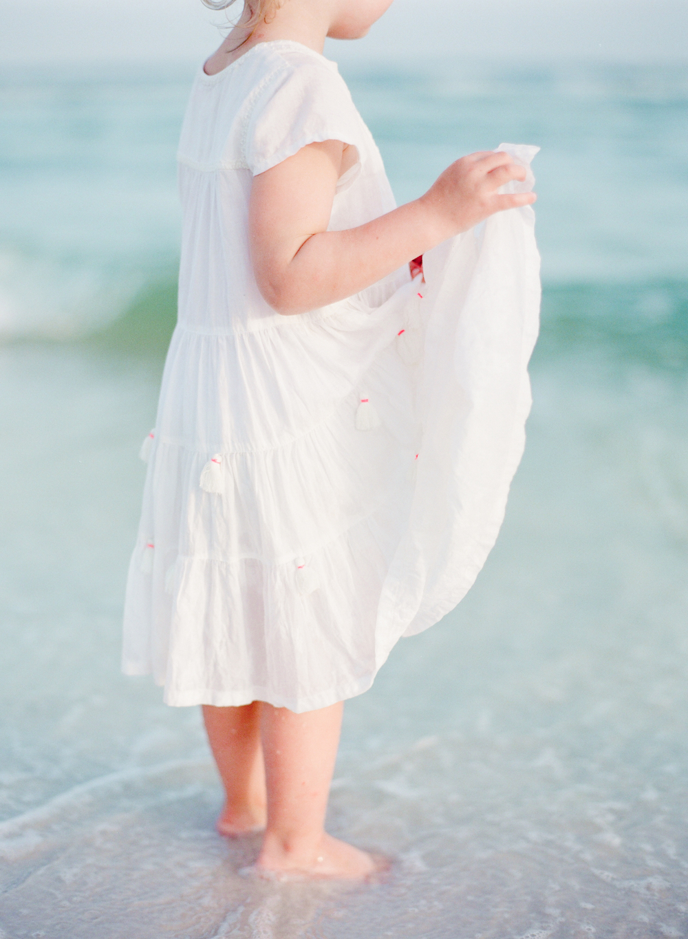 Little girl white dress at the beach | Kaylie B. Poplin Photography | Watercolor, Florida Fine Art Film Photographer