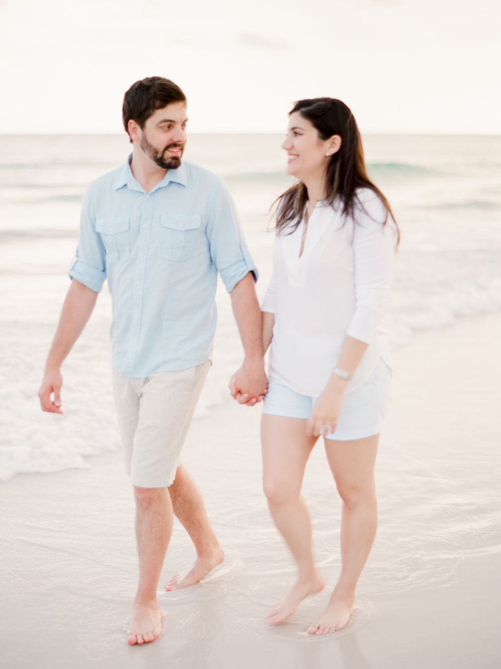 Neutral colored outfits for beach engagement pictures | Kaylie B. Poplin Photography | Destin, Florida fine art photographer