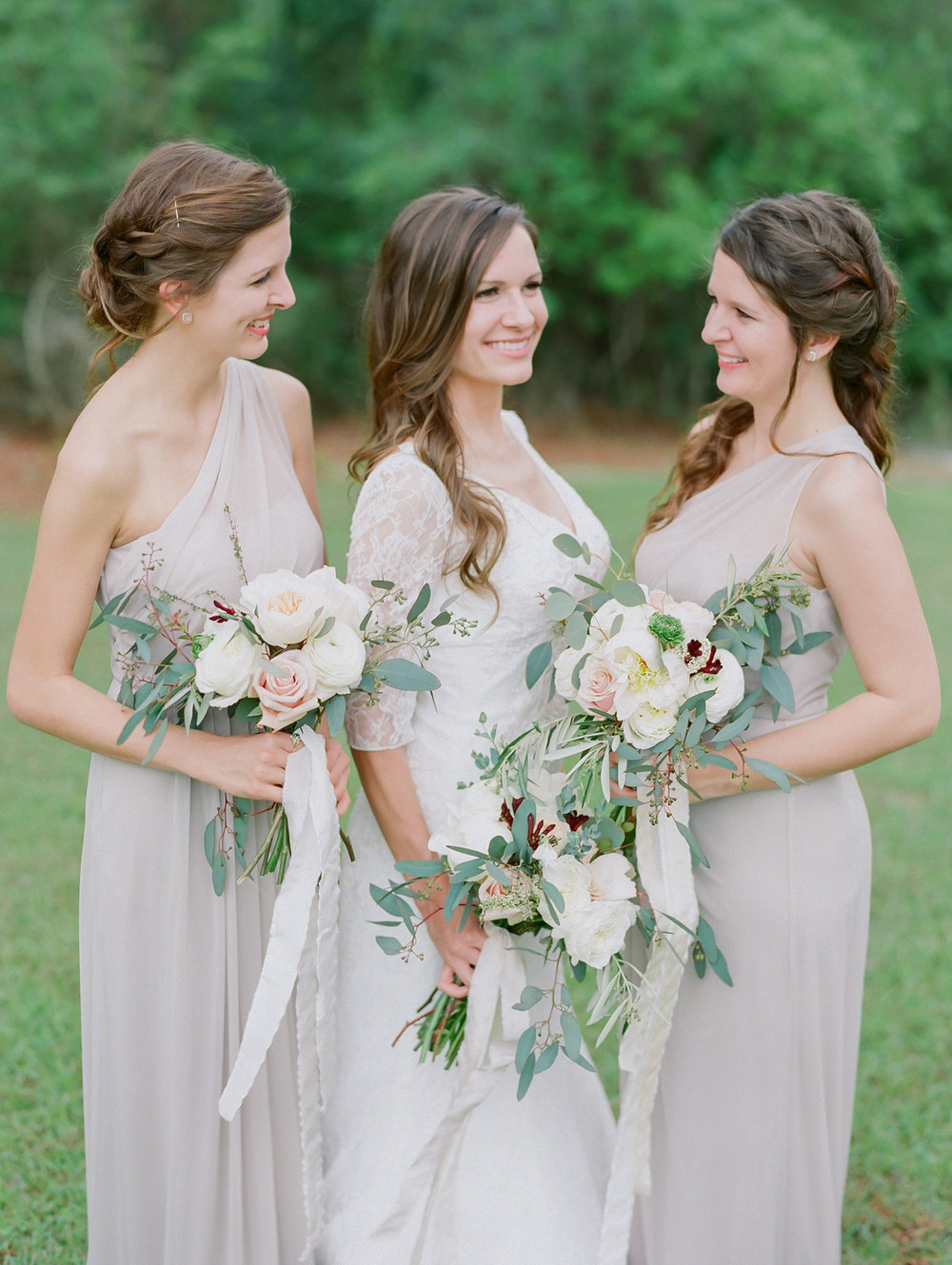Neutral Bridesmaids Dresses | Fine Art Crestview Florida Wedding | Jennifer Blair Photography