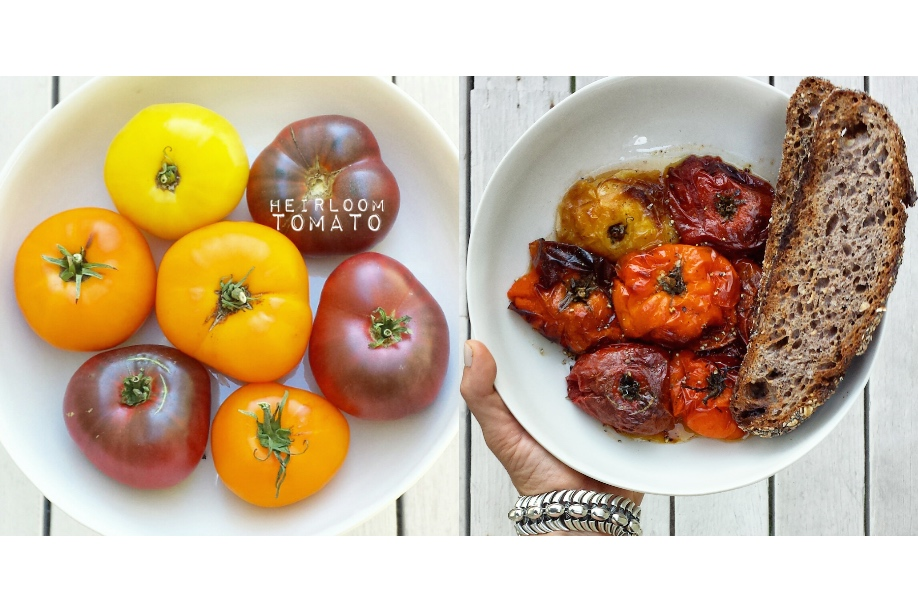 roasted heirloom tomatoes and toast