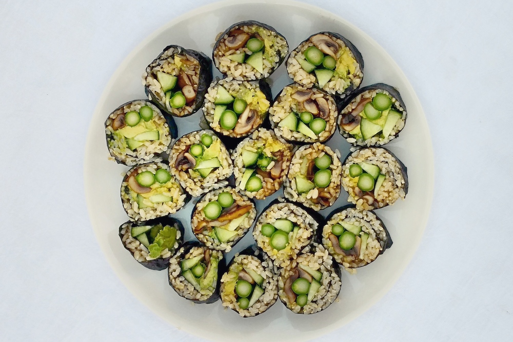 vegan sushi on the plate