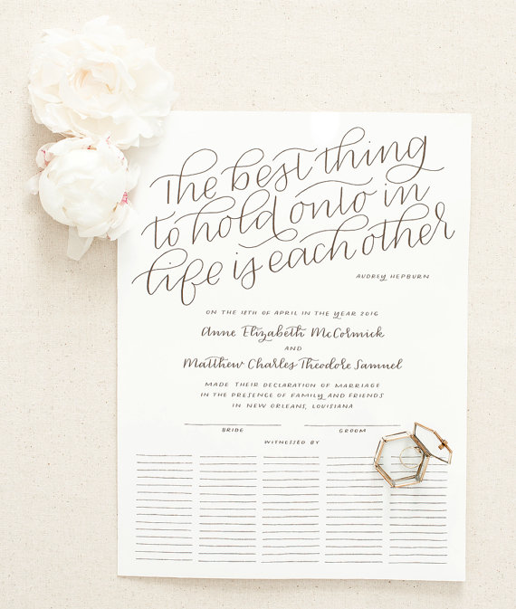 ONE alternative to a classic guest book that I do love is this beautifully penned marriage certificate by Laura at  Paper & Honey. Personalized for your day and available in a variety of sizes. Hung in a place in your home to remind you of the friend and loved ones who came to celebrate and support your marriage on the good days and the bad.
