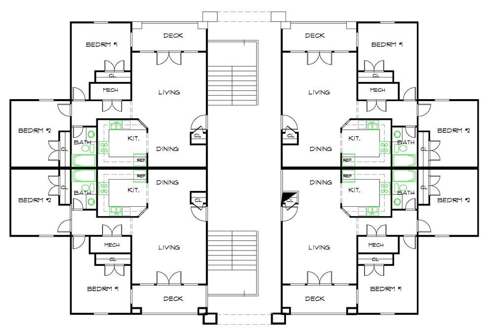 Featured apartment floor plans for Four unit apartment building plans