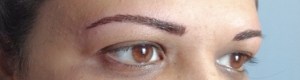 Immediately after Hair stroke eyebrows.  Pigment will soften in 4-5 days.
