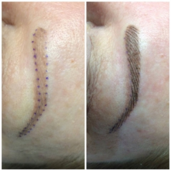 Before and Immediately after Hairstroke Eyebrows.  Fixed color, shape and added hairstrokes to look more natural.