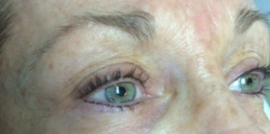Healed  Top/Bottom Eyeliner in color Mahogany, this is before doing her touch up.