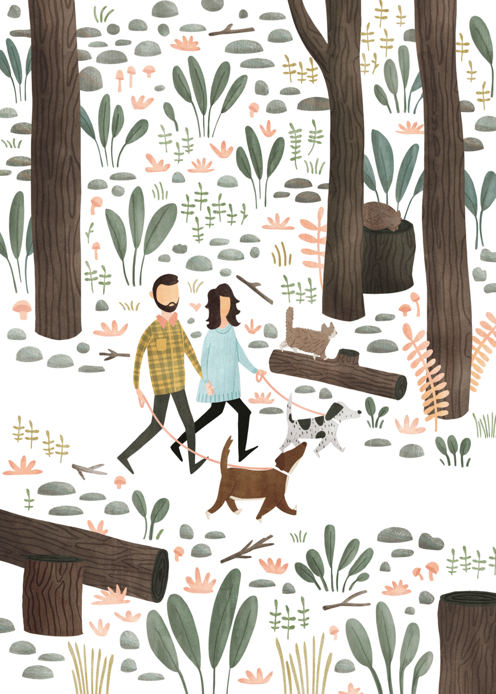 natalie-marion-family-portrait-cat-dogs-forest-happy-illustration.png