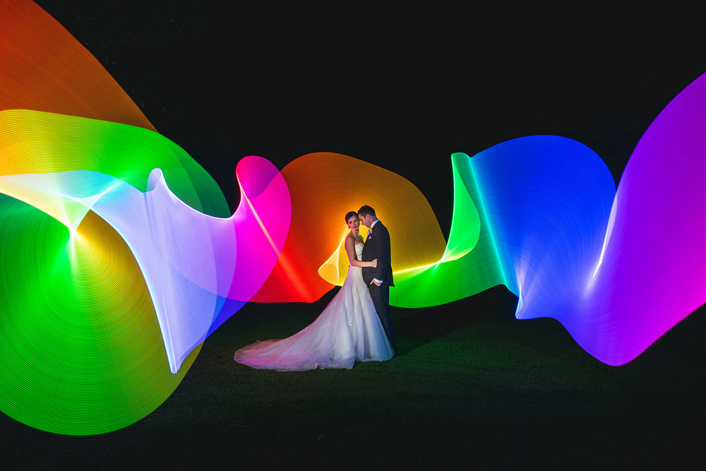 Pixelstick light painting wedding photography