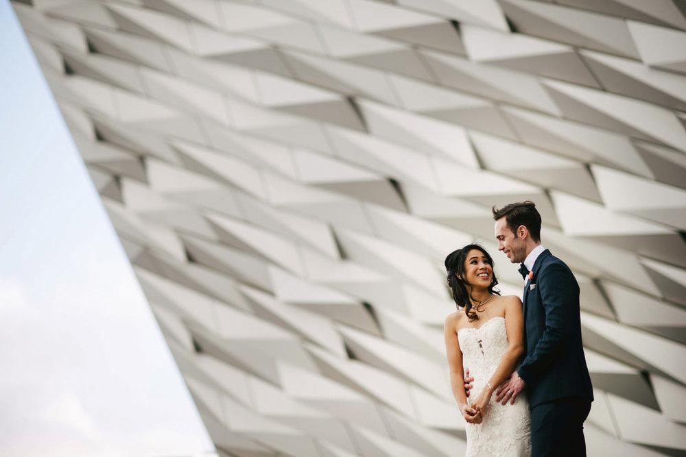Belfast Wedding photographers NI. Simple Tapestry. titanic Wedding. Titanic Quarter.