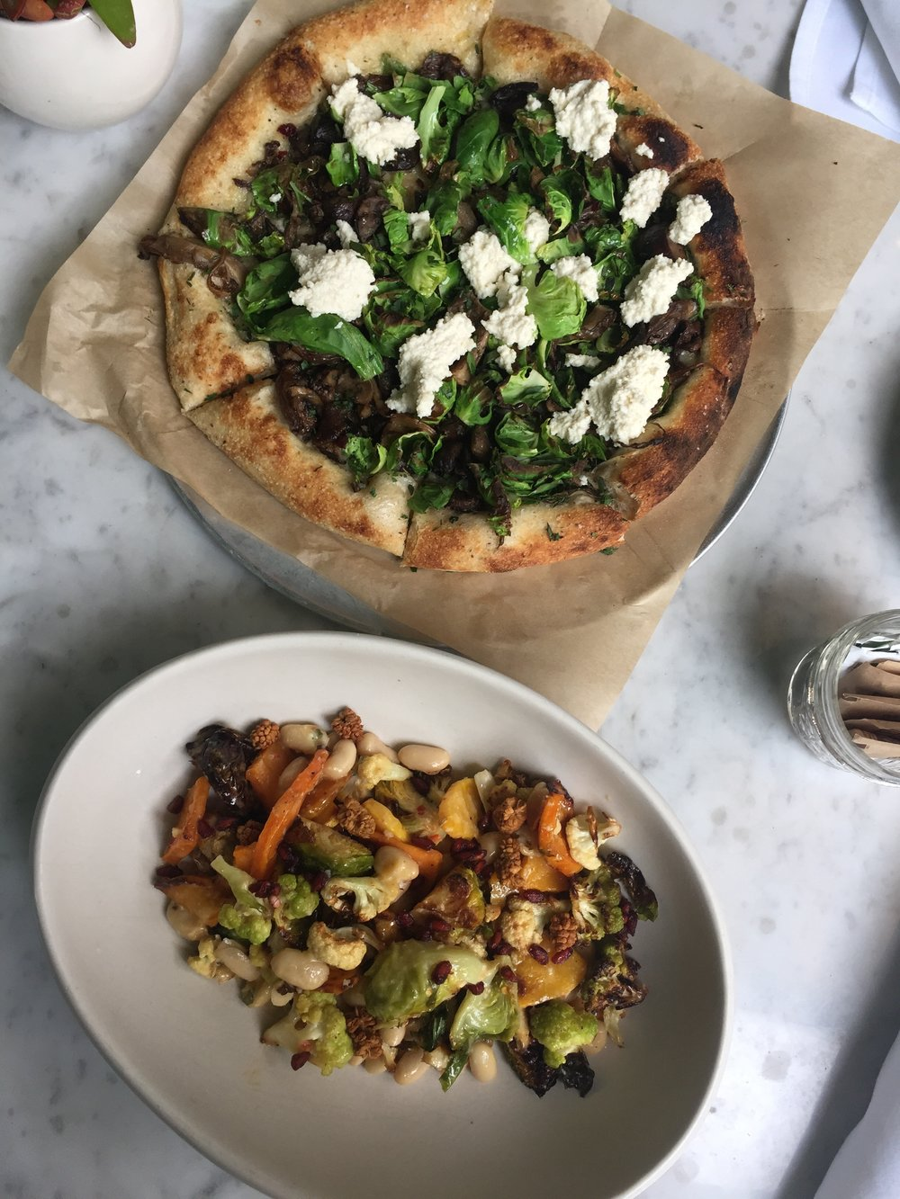 True Food Kitchen - seasonal salad + some kind of pizza. Both duh-licious.