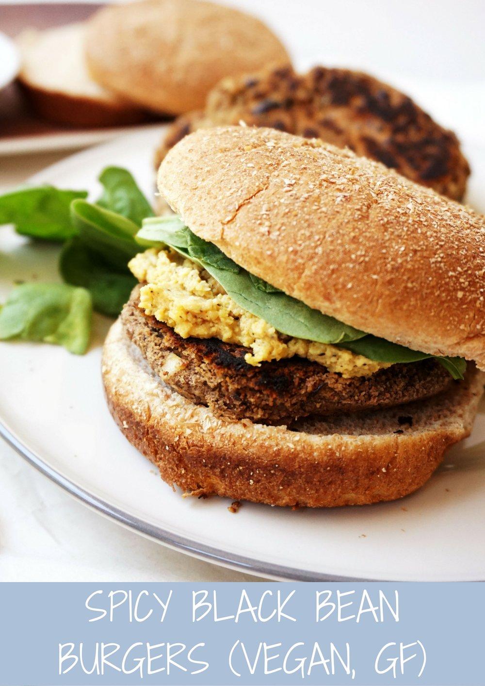 Spicy Black Bean Burgers (Vegan, GF)