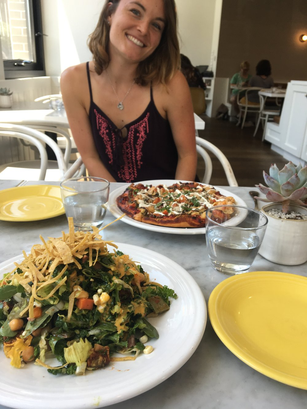 Cafe Gratitude: I Am Local Salad + I Am Giving Chef's Seasonal Pizza