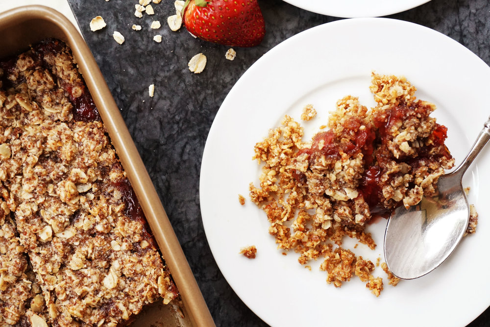 Strawberry Crumble Bars (Vegan, GF)