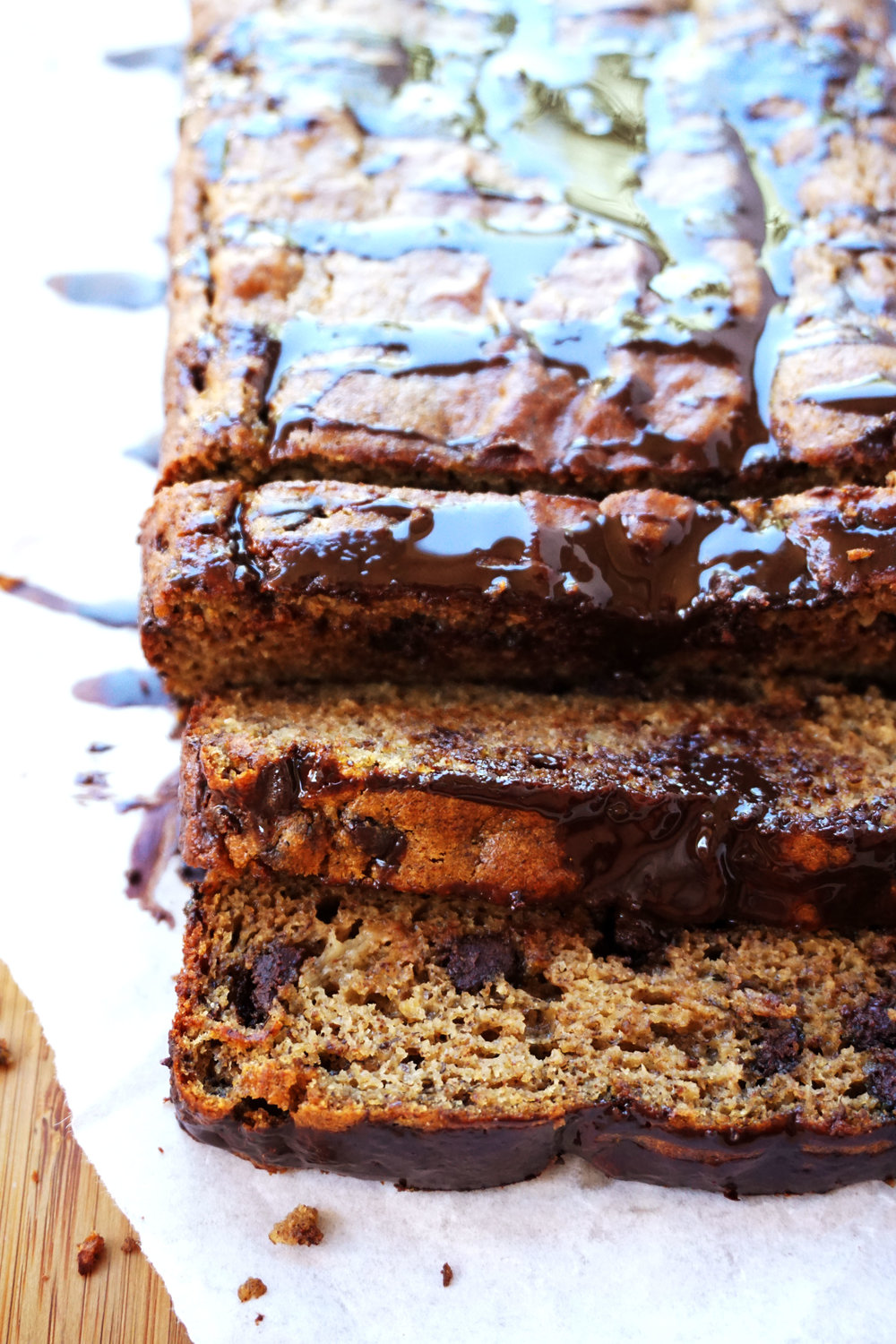 Chocolate Chip Banana Bread Breakfast Cake w/ Coconut Cacao Drizzle (GF, Paleo)