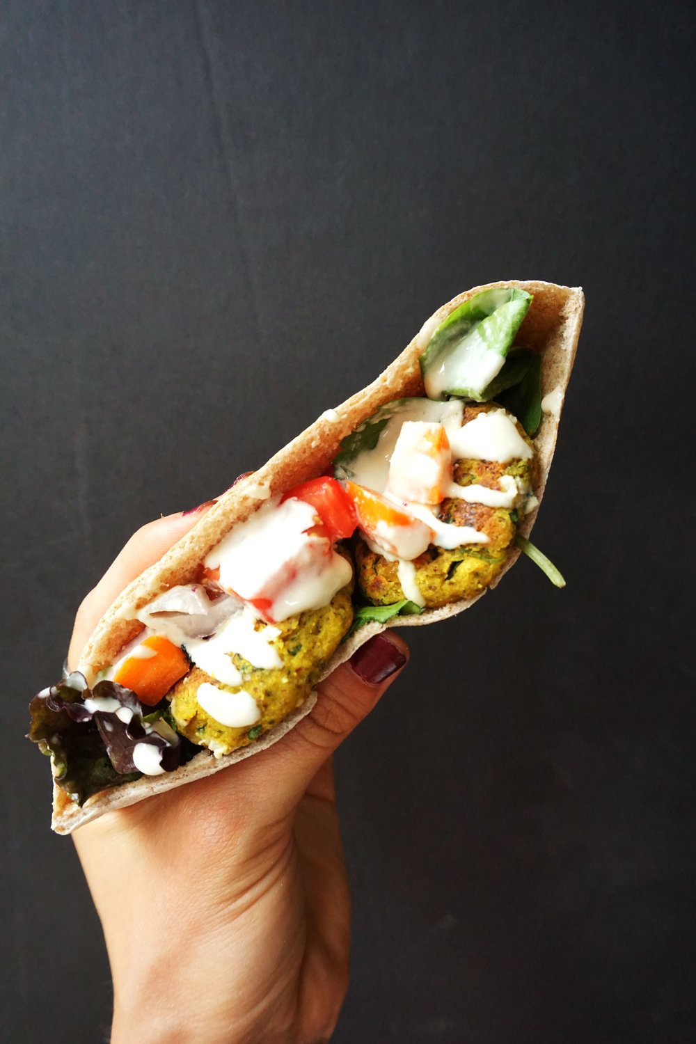 Falafel and Veggie Pita Sandwich (Vegan)