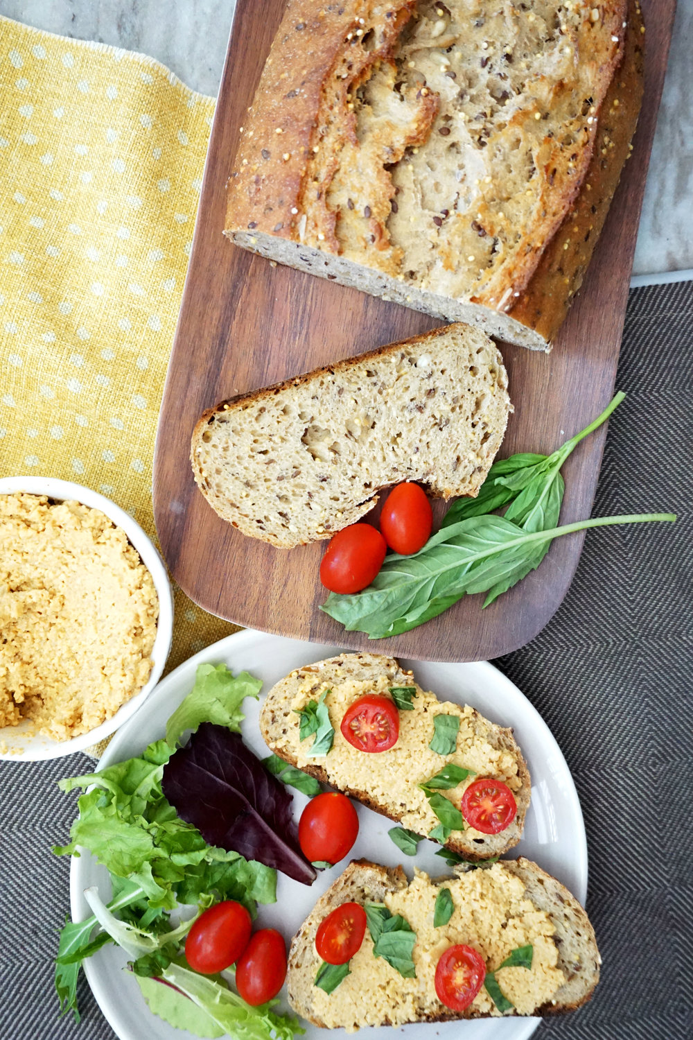Tomato Basil Toasts w/ Cashew Cheeze Spread (Vegan)