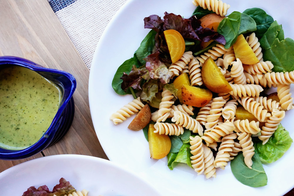 Pasta Salad w/ Beets and Cilantro Lime Dressing (Vegan, GF)