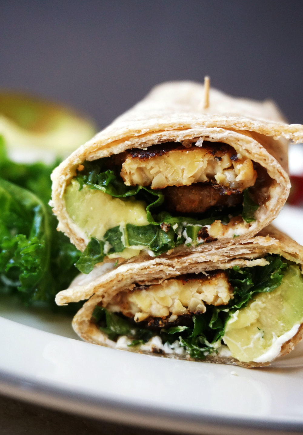 Goat Cheese and Kale Wrap w/ Blackened Tempeh
