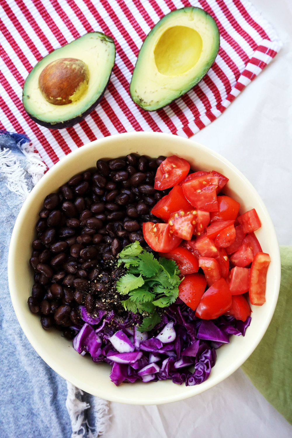 Baja Black Bean Taco Salad w/ Creamy Lemon Avocado Dressing (Vegan, GF)