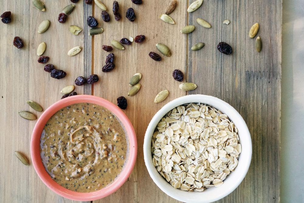 Pumpkin Seed Oatmeal Raisin Cookie Bars (Vegan)