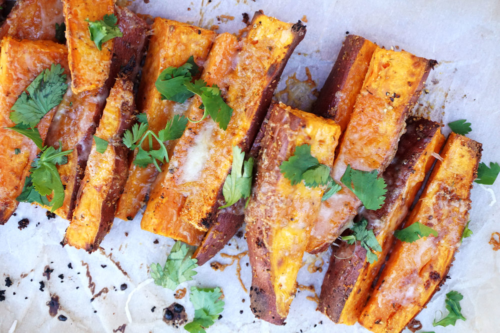 Roasted Garlic White Cheddar Sweet Potato Wedges (GF)