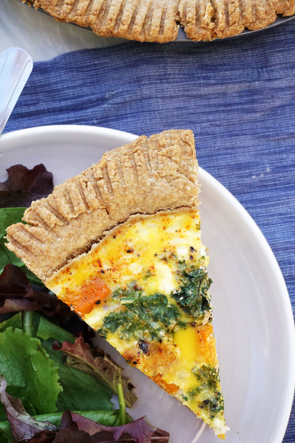 Roasted Butternut Squash and Kale Quiche