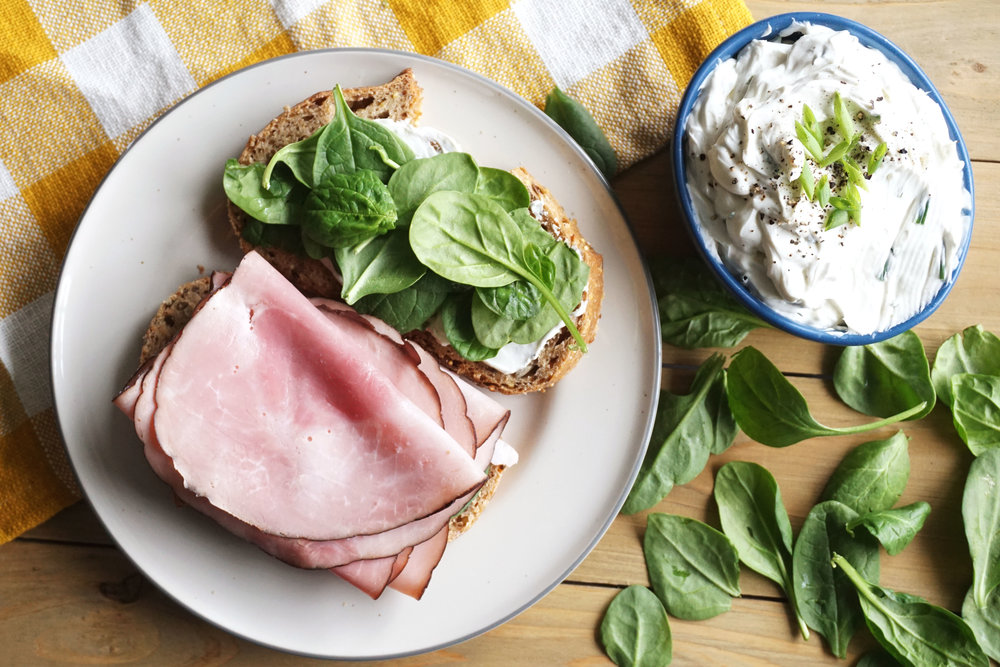 Ham and Herb Cream Cheese Sandwich