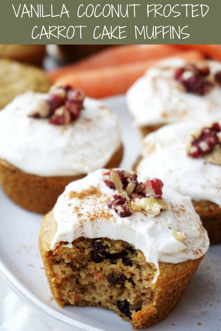 Vanilla Coconut Frosted Carrot Cake Muffins (GF, almost Paleo)