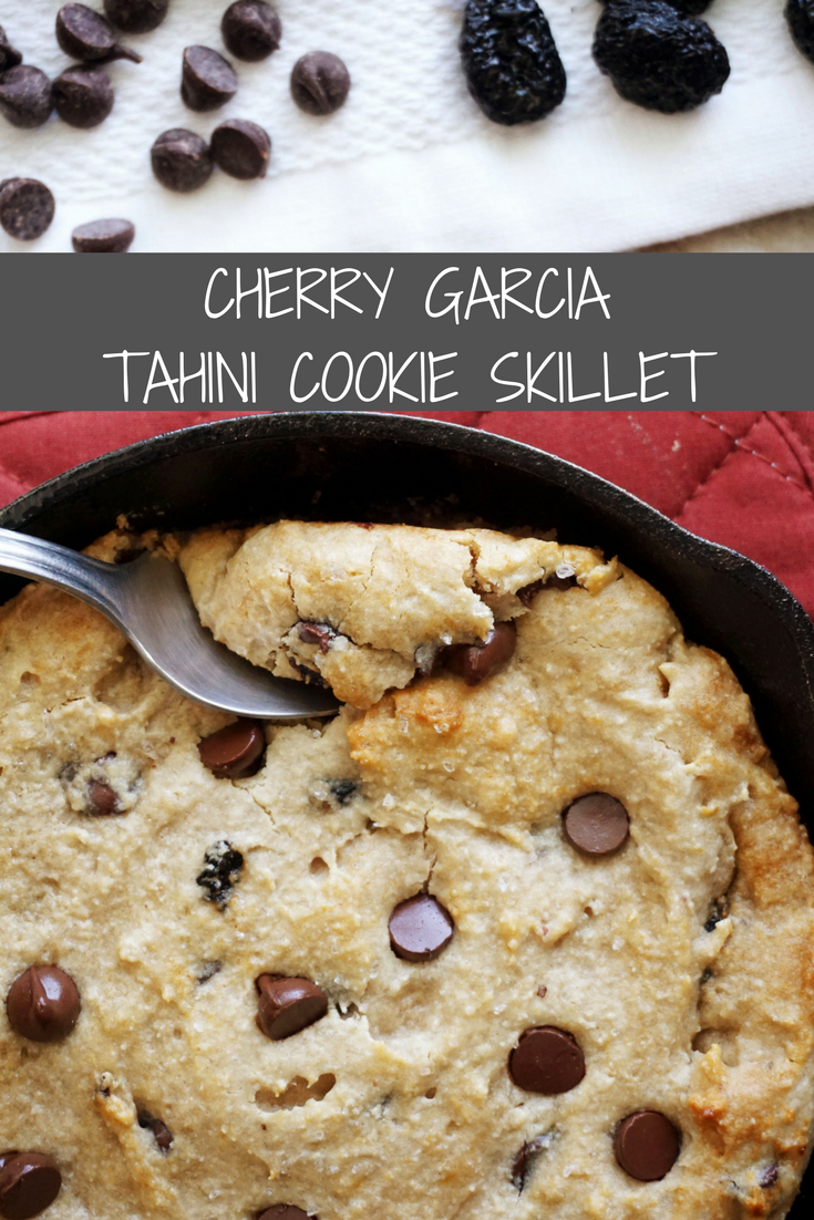 Cherry Garcia Tahini Cookie Skillet (Vegan, Grain-free)