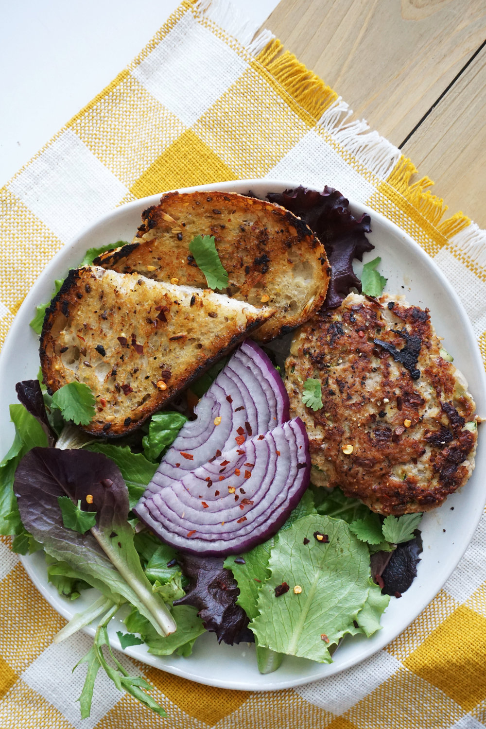 Turkey Burgers with Tahini Dressing and Grilled Bread