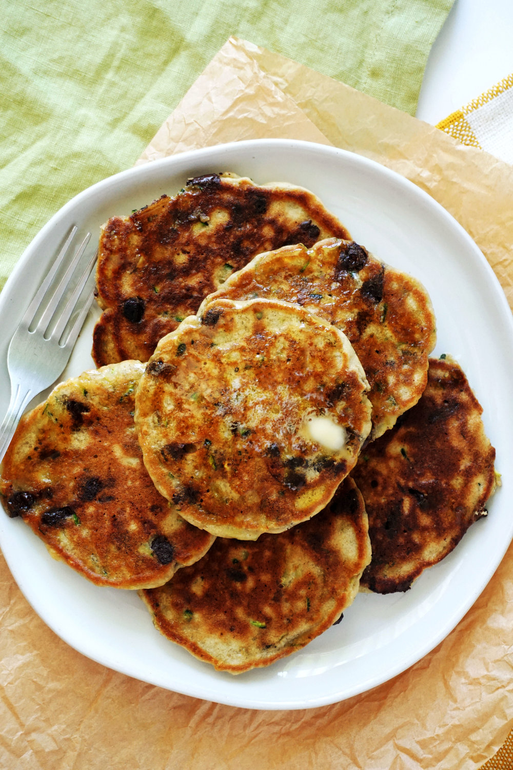 Whole-Grain Chocolate Chip Zucchini Pancakes (GF)