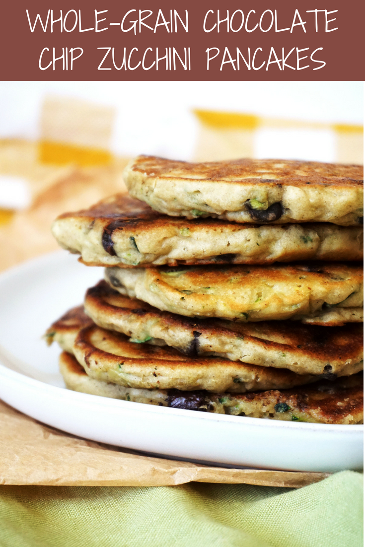 Whole-Grain Chocolate Chip Zucchini Pancakes (GF, DF)
