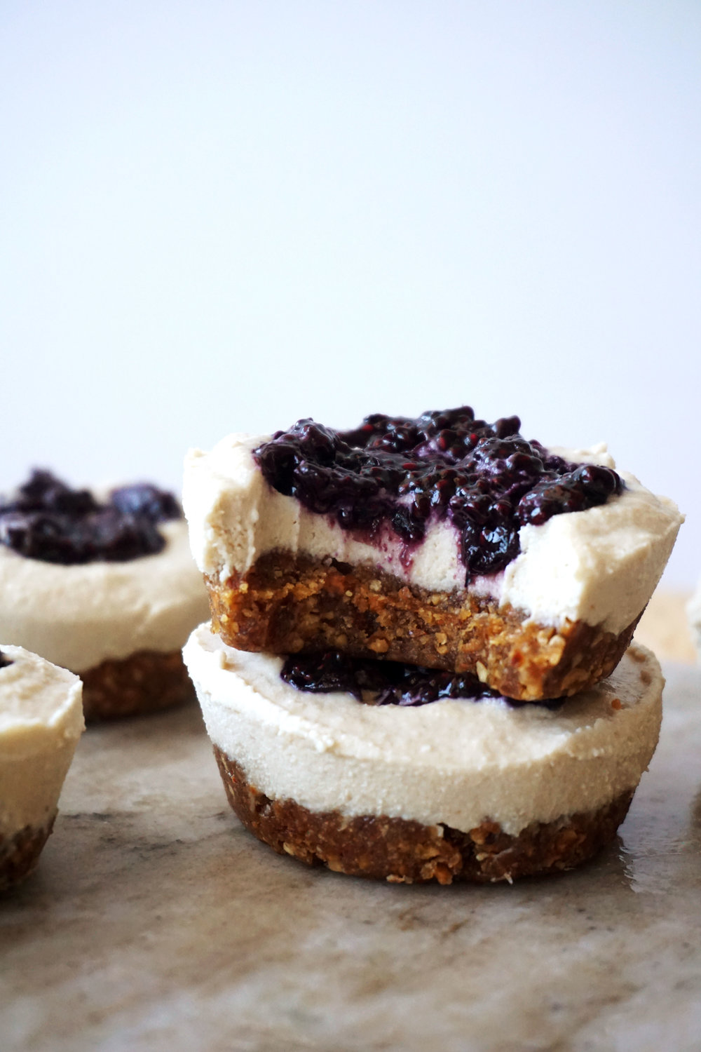 Mini Blueberry Cheesecakes (Vegan, GF)