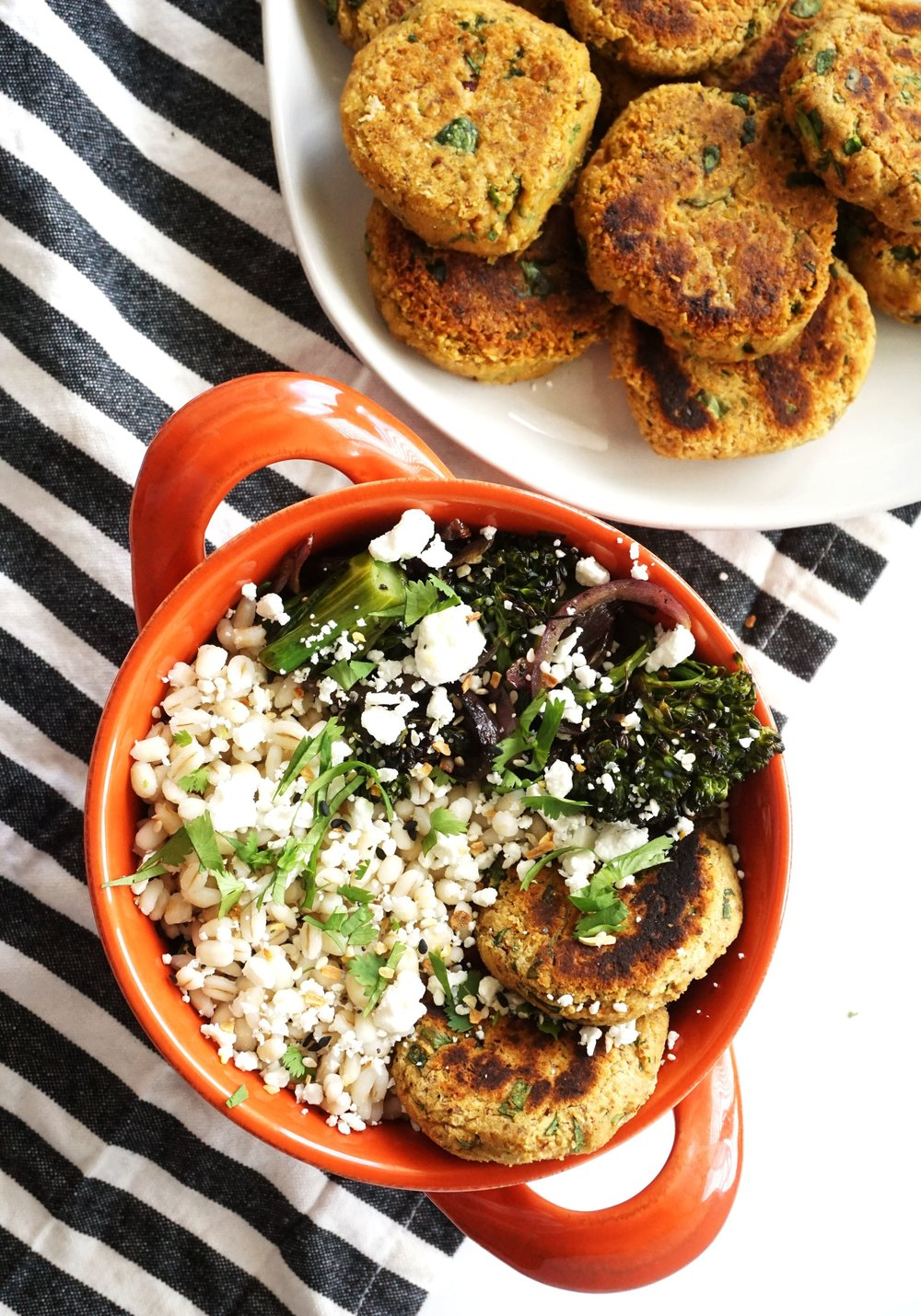 Baby Broccolini, Falafel, and Barley Grain Bowl (GF)