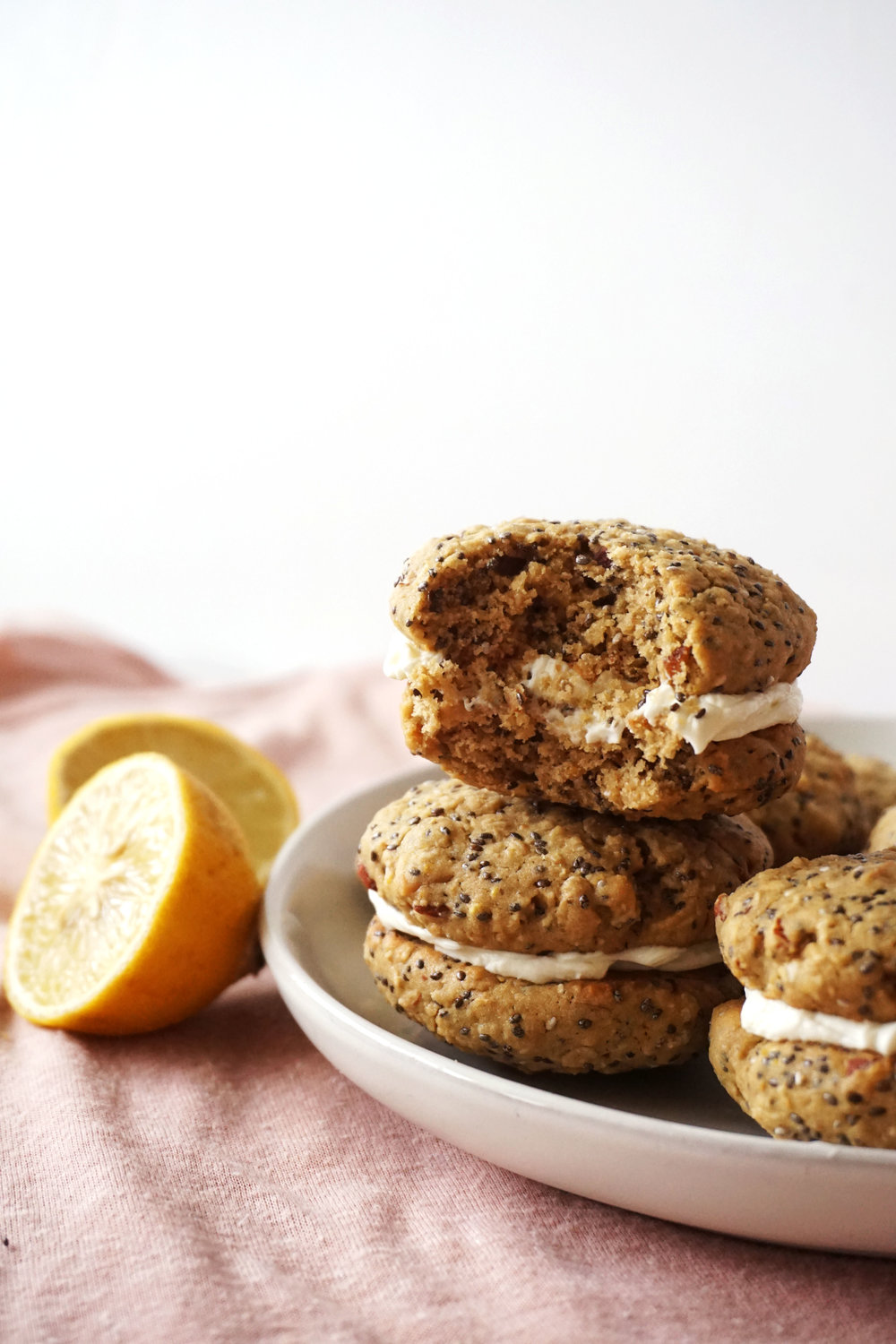 Lemon Chia Seed Oatmeal Cookie Sandwiches (GF)