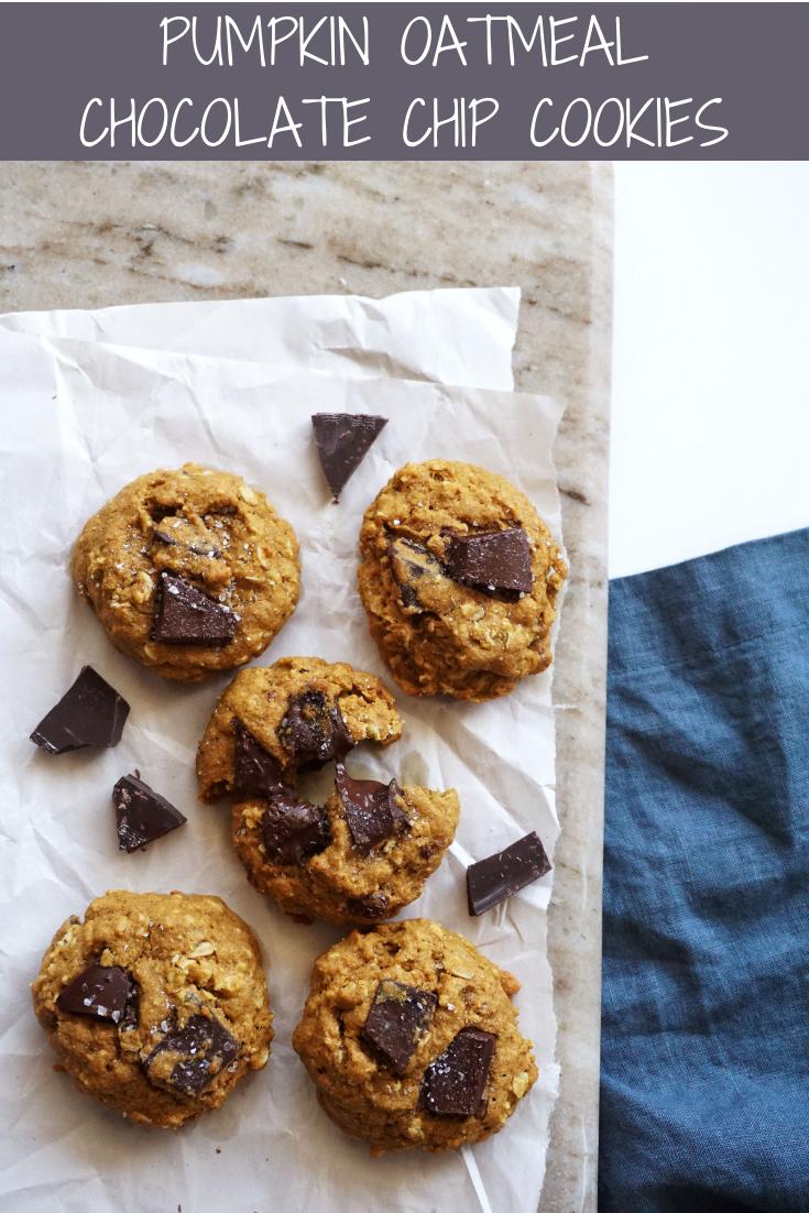 Pumpkin Oatmeal Chocolate Chunk Cookies (Dairy-free)