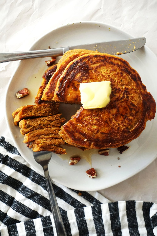Fluffy Sweet Potato Pecan Kefir Pancakes