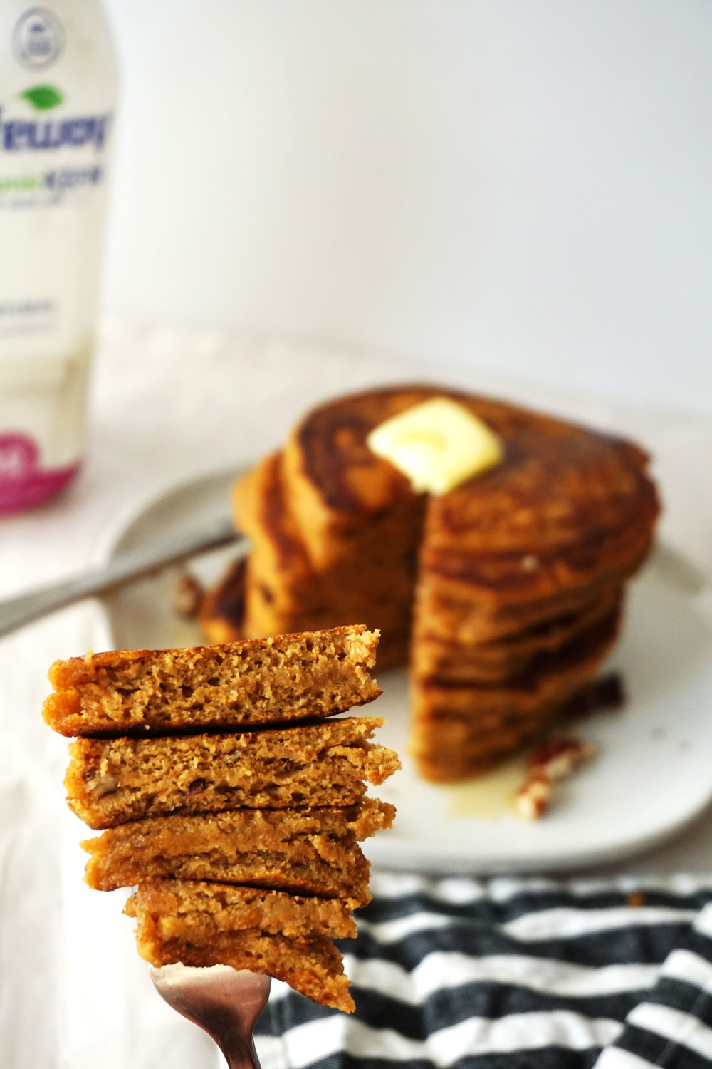 Fluffy Sweet Potato Pecan Kefir Pancakes