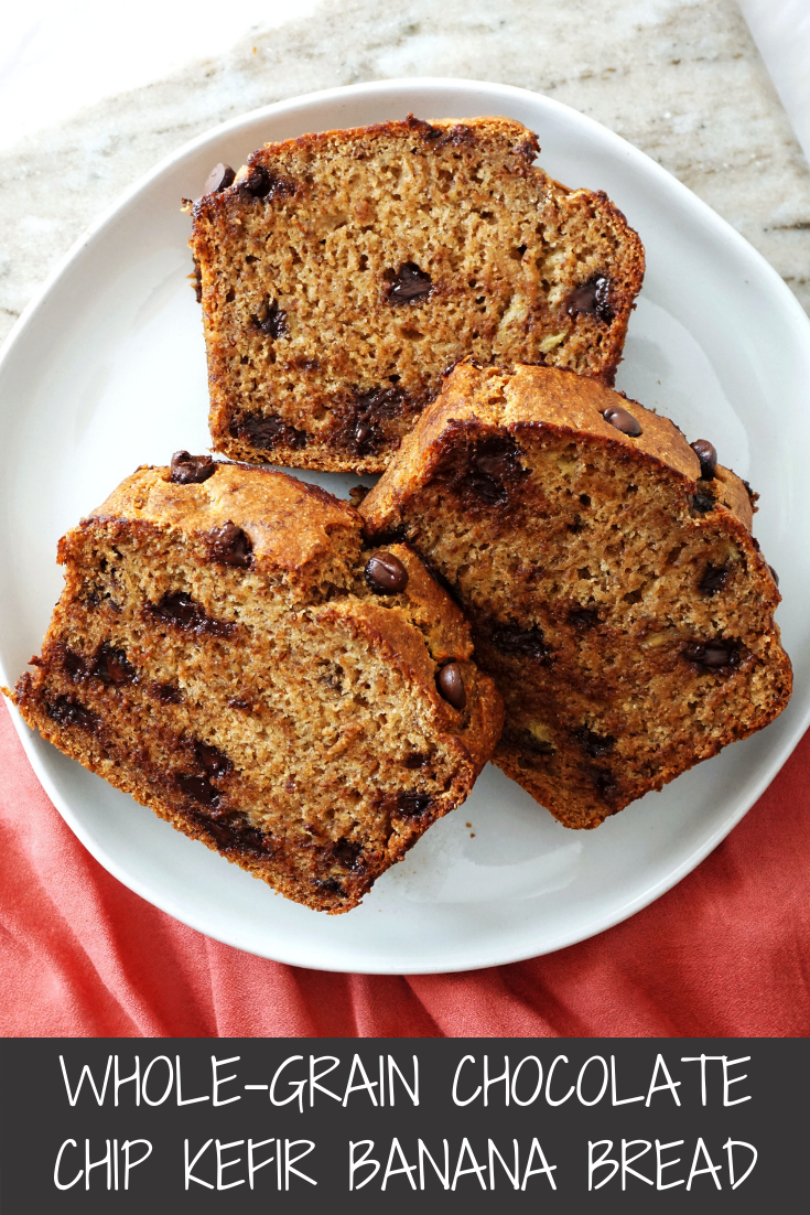 Whole-Grain Chocolate Chip Kefir Banana Bread (Egg-free)