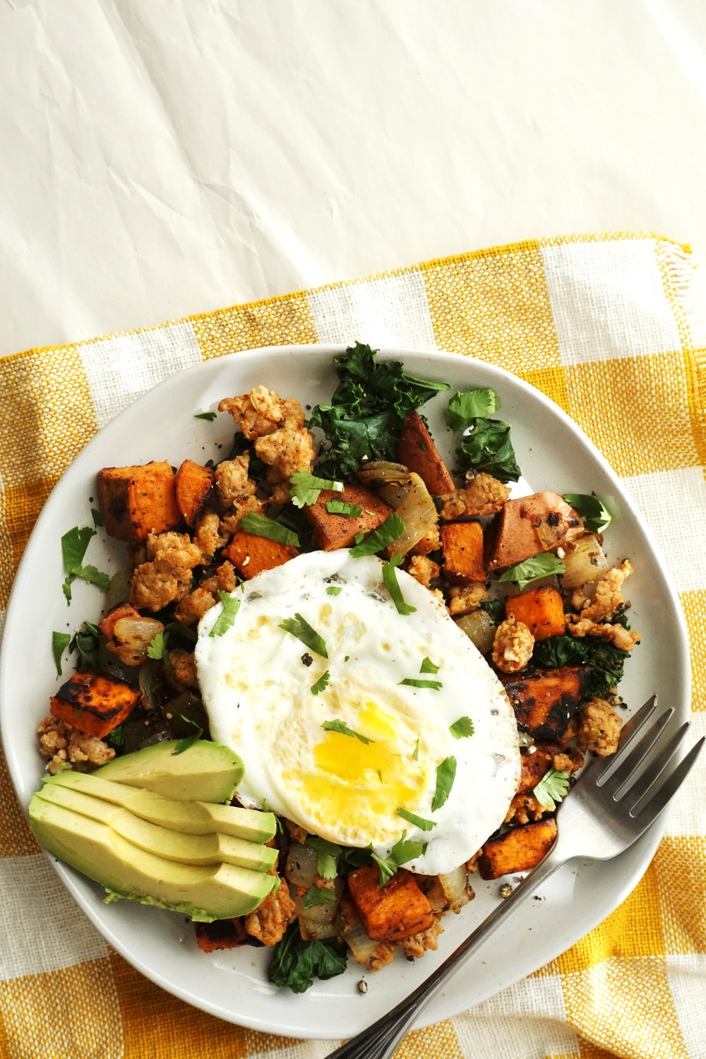 Sweet Potato, Sausage, and Kale Hash (Gluten-free, Dairy-free)