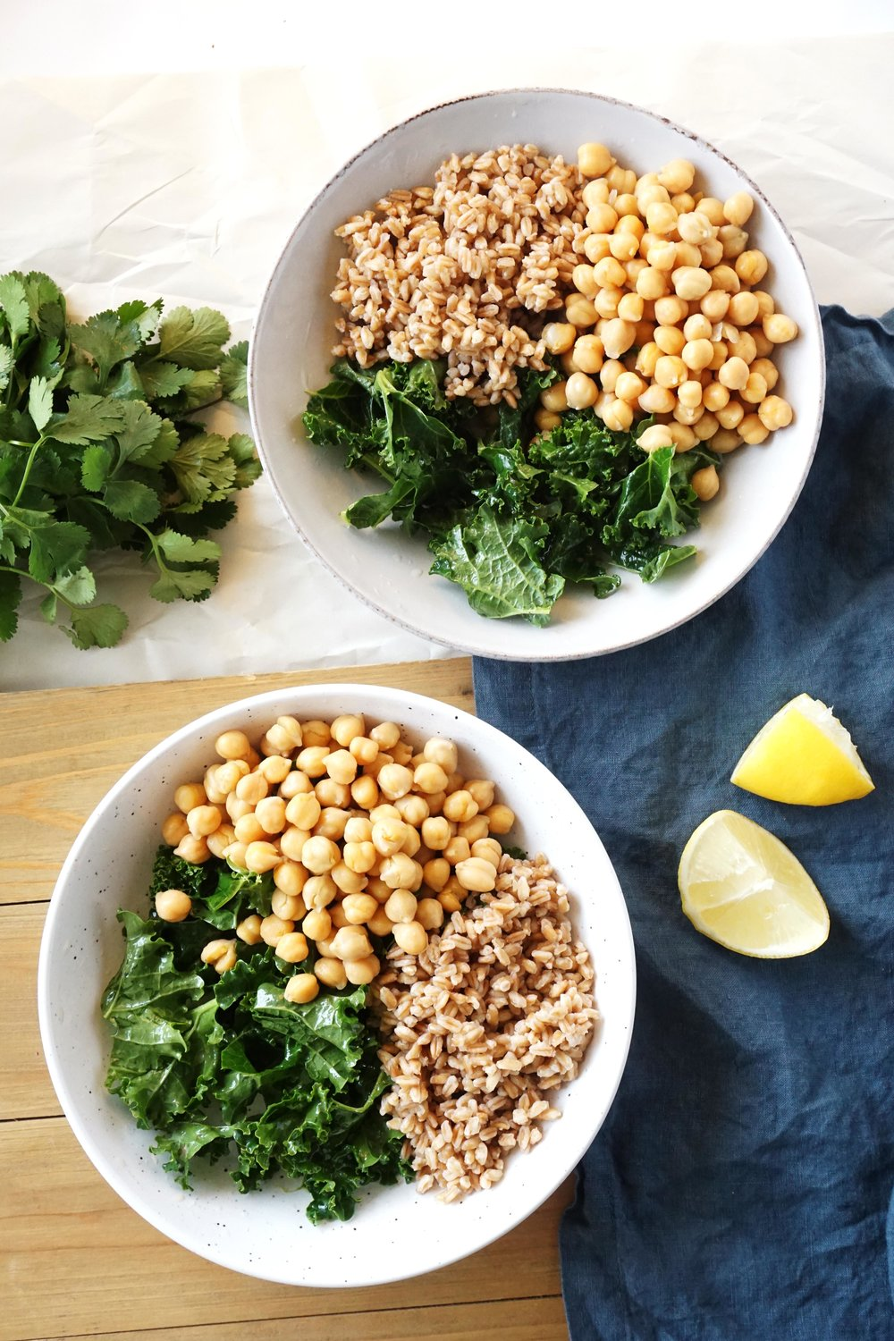 Honey Mustard Chickpea Farro Salad for Two (Vegan option, Dairy-free)