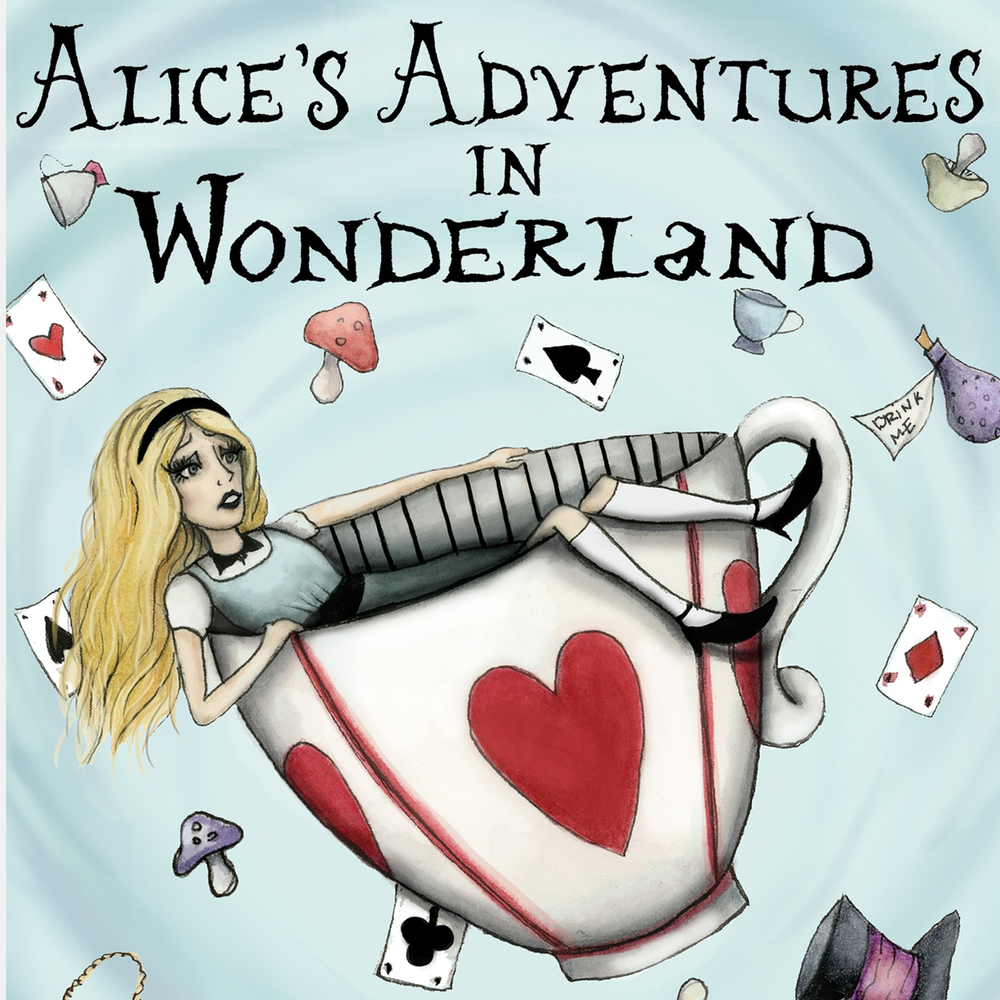 Alice in Wonderland Book Cover: Book cover recreation of Alice in Wonderland. Watercolor, ink, and digital media.